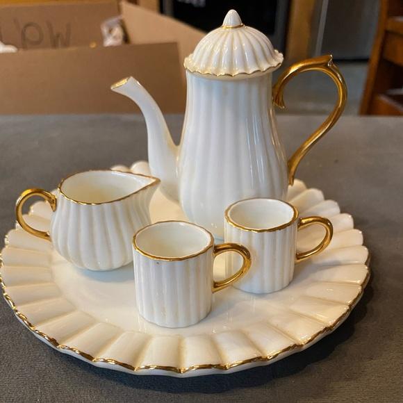 Vintage white gold miniature tea set tea party